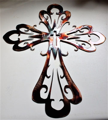 Curved Ornamental Cross Metal Art