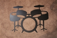 Drum Set Metal Art in Black
