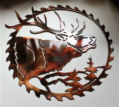 Elk Head Saw Blade Metal Wall Art