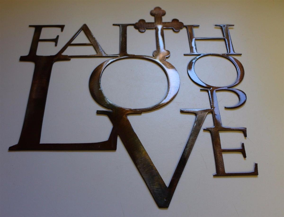 Art Décor: Faith, Love And Hope W/ Cross Metal Wall Art Decor