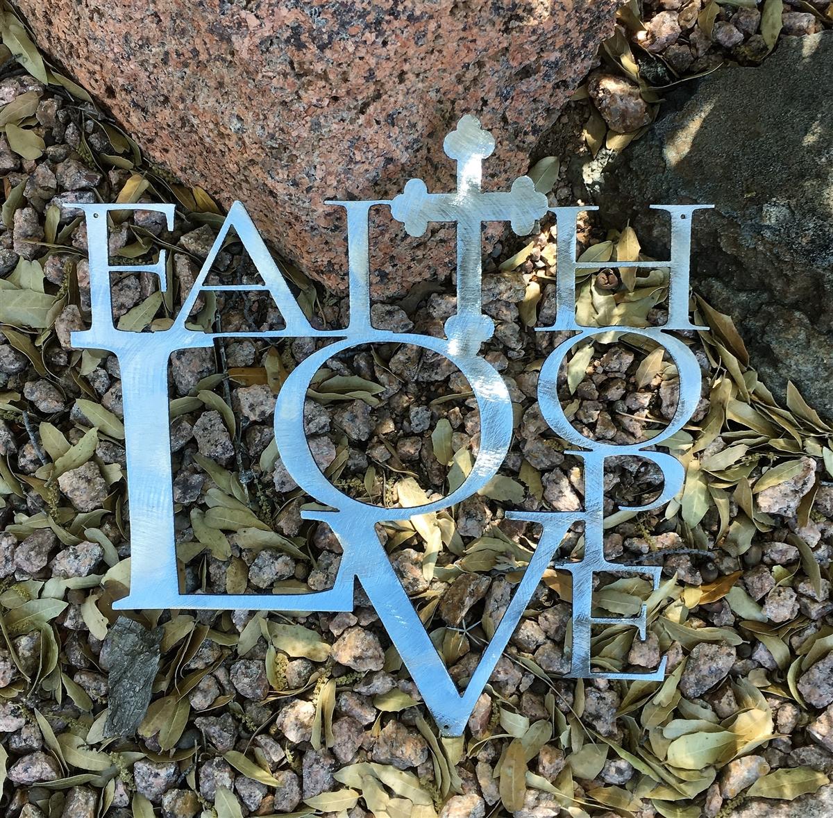 Faith Love And Hope W Cross Metal Wall Art Decor Silver