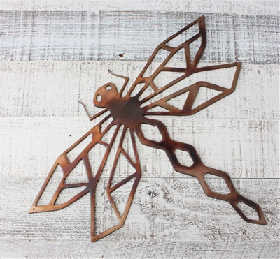 Geometric Dragonfly Metal Art