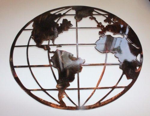 Metal Wall Art Globe Map
