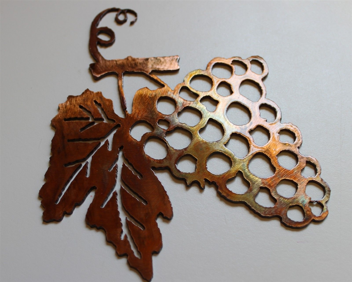 Small Metal Wall Art grape bushel copper/bronze metal wall art