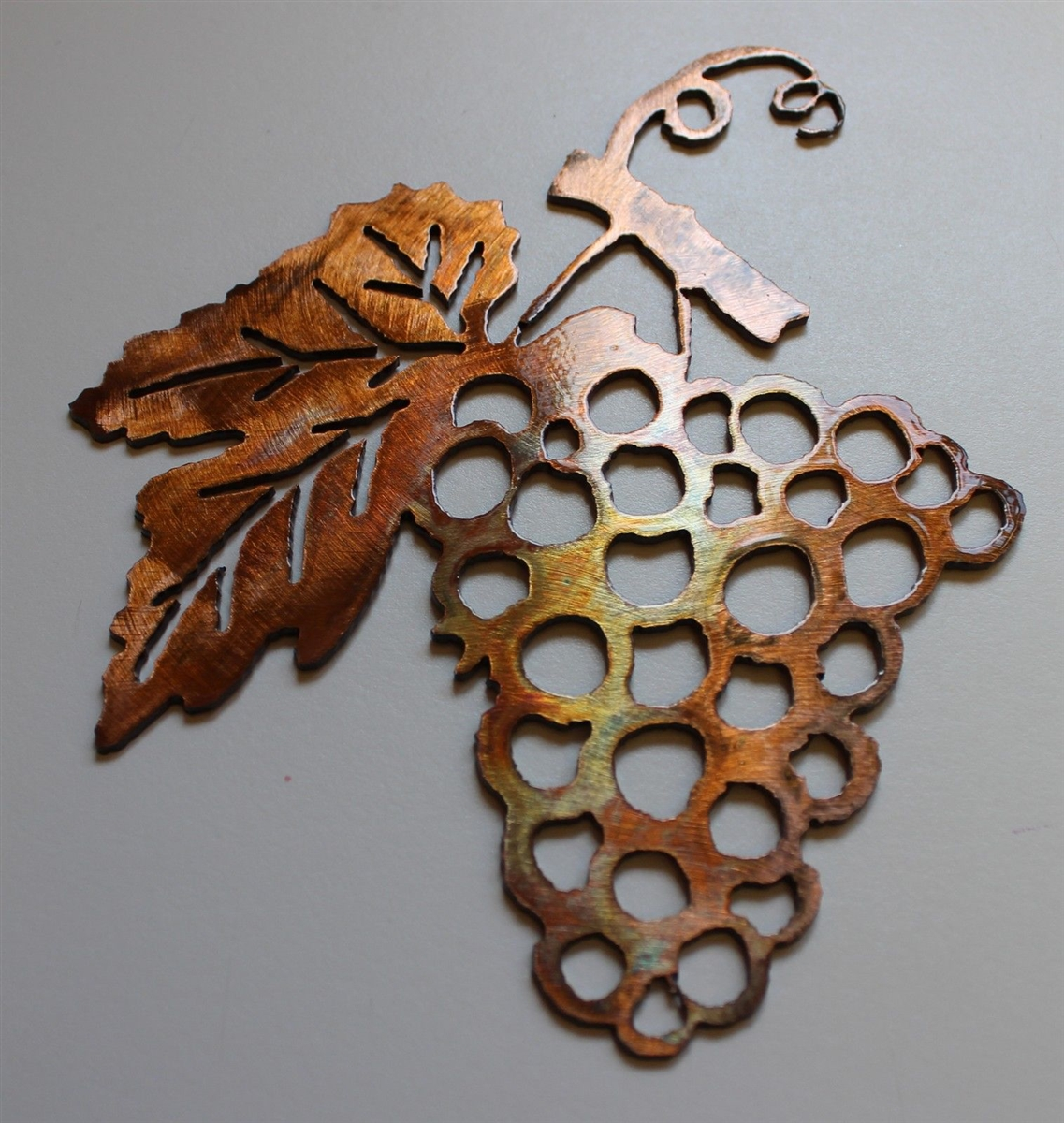 Small Metal Wall Art Decor Grape Bushel Copperbronze Metal Wall Art