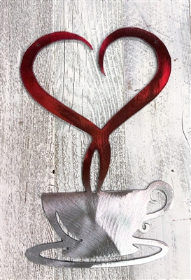 Steamed with Love Coffee Metal Wall Decor--SILVER