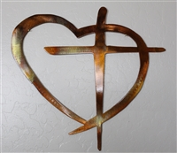 Heart & Cross Metal Wall Art Decor