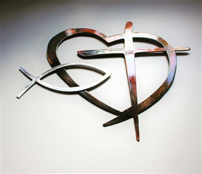 Heart with Cross & Fish Metal Wall Art