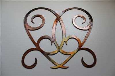 Ornamental Heart Scroll Metal Wall Decor