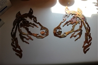 Horse Head Pair Metal Wall Art