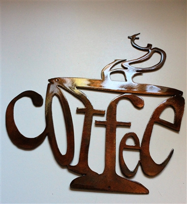Hot Coffee Cup Metal Wall Art