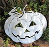 Jack O Lantern Pumpkin Metal Wall Art Decor Silver