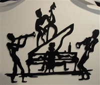 Jazz Piano Playing Quartet Metal Wall Art