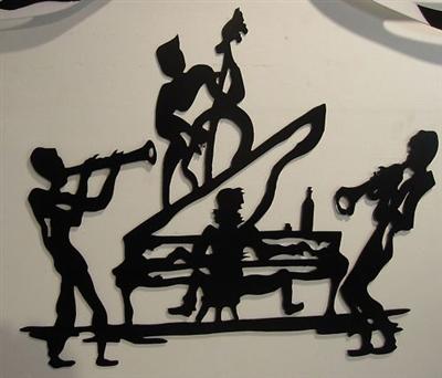 Jazz Piano Playing Quartet Metal Wall Art