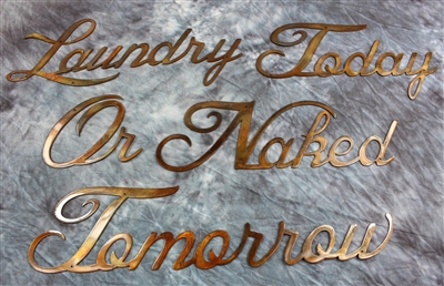 """Laundry Today or Naked Tomorrow"" Metal Wall Art"