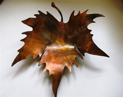 Sculpted Metal Leaf Bowl Candle Holder Copper Bronze Plated
