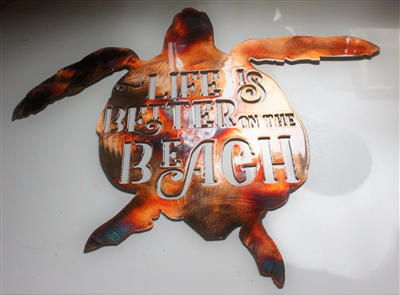 Life is Better on the Beach Metal Wall Art  Sea Turtle