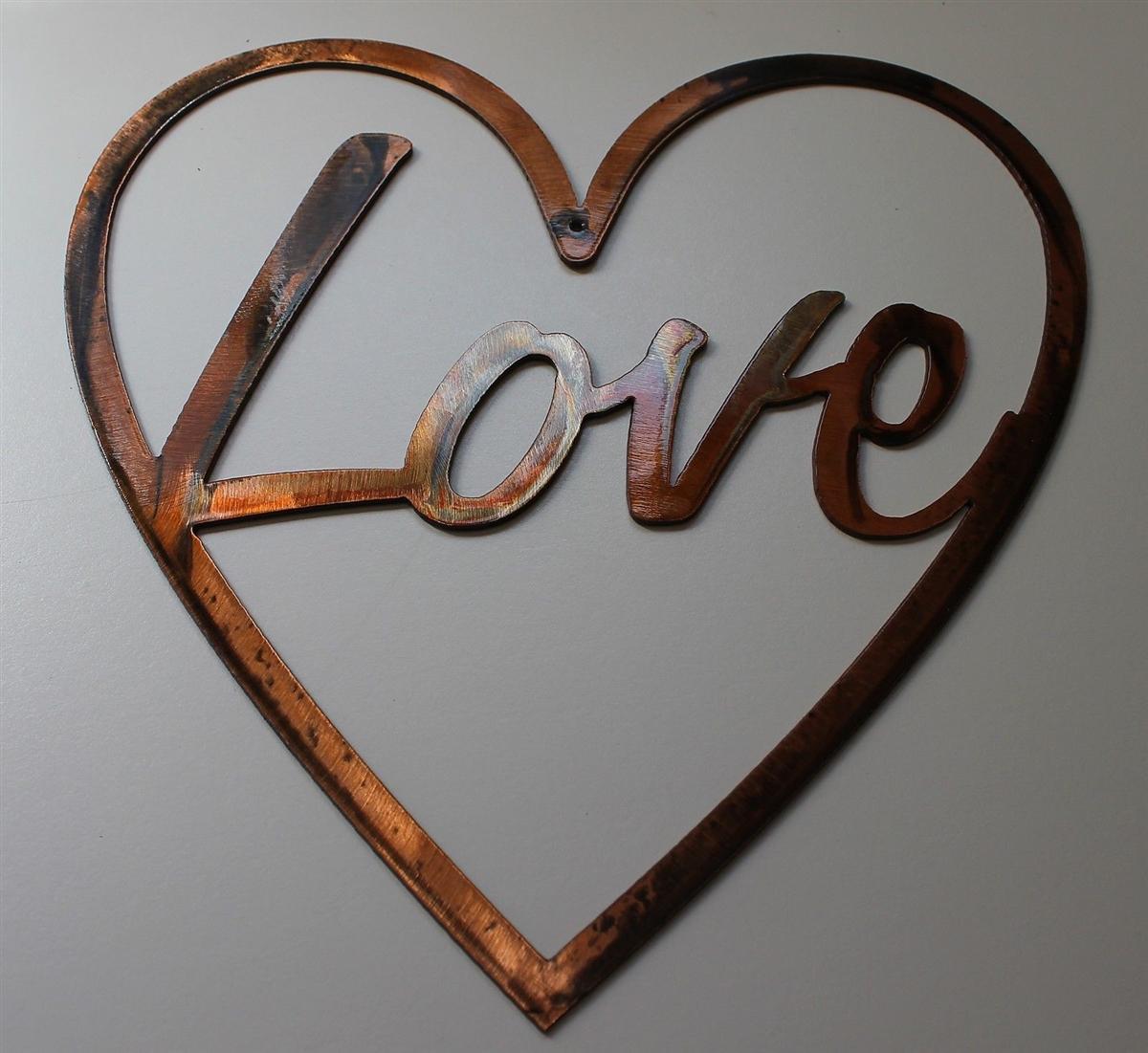 love in heart metal wall art