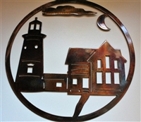 Circular Lighthouse Scene Metal Wall Art 12""