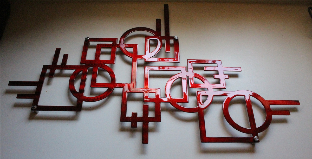 Modern Lines Metal Wall Art Decor Metallic Red 32 X 20