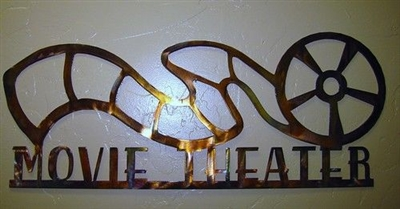 "Movie Theater Reel Sign ""24 Metal Wall Art Decor - Copper"