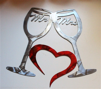 Mr & Mrs Wine Glasses Metal Wall Art