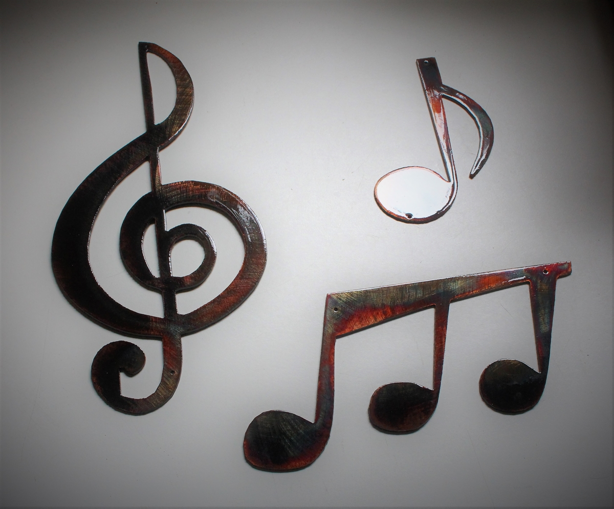 3 piece metal wall art silver music notes set of pieces metal wall art by hgmw copperbronze plated email