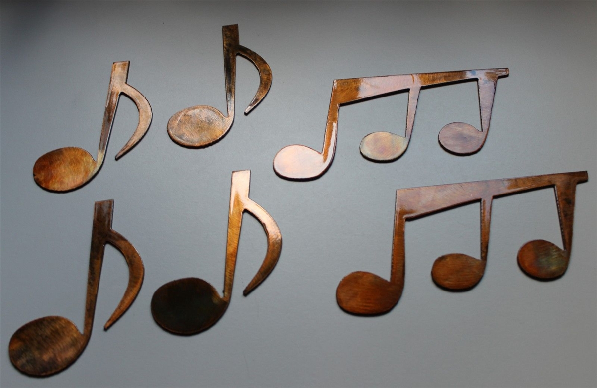 Music notes set of 6 metal wall art copper bronze plated for Bronze wall art