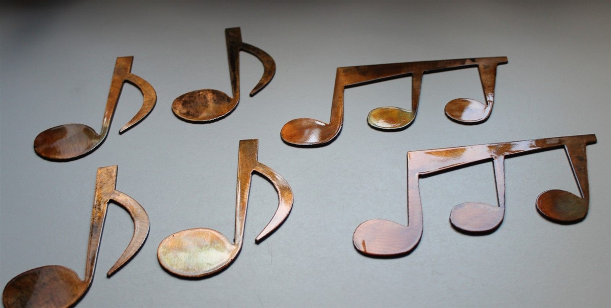 Bronze Metal Wall Art music notes set of 6 metal wall art copper/bronze plated