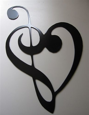 Music Heart Note Metal Wall Decor