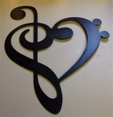 METAL WALL ART DECOR MUSIC HEART NOTES MUSICAL CLEF style 2