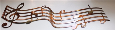 Music Staff and Notes Metal Wall Art Decor Copper/Bronze Plated