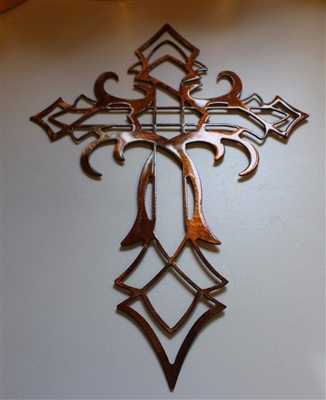 Ornamental Cross Metal Wall Art Decor Copper Bronze Plated