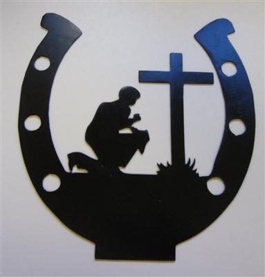 Horseshoe Cowboy Praying Wall Art - Black