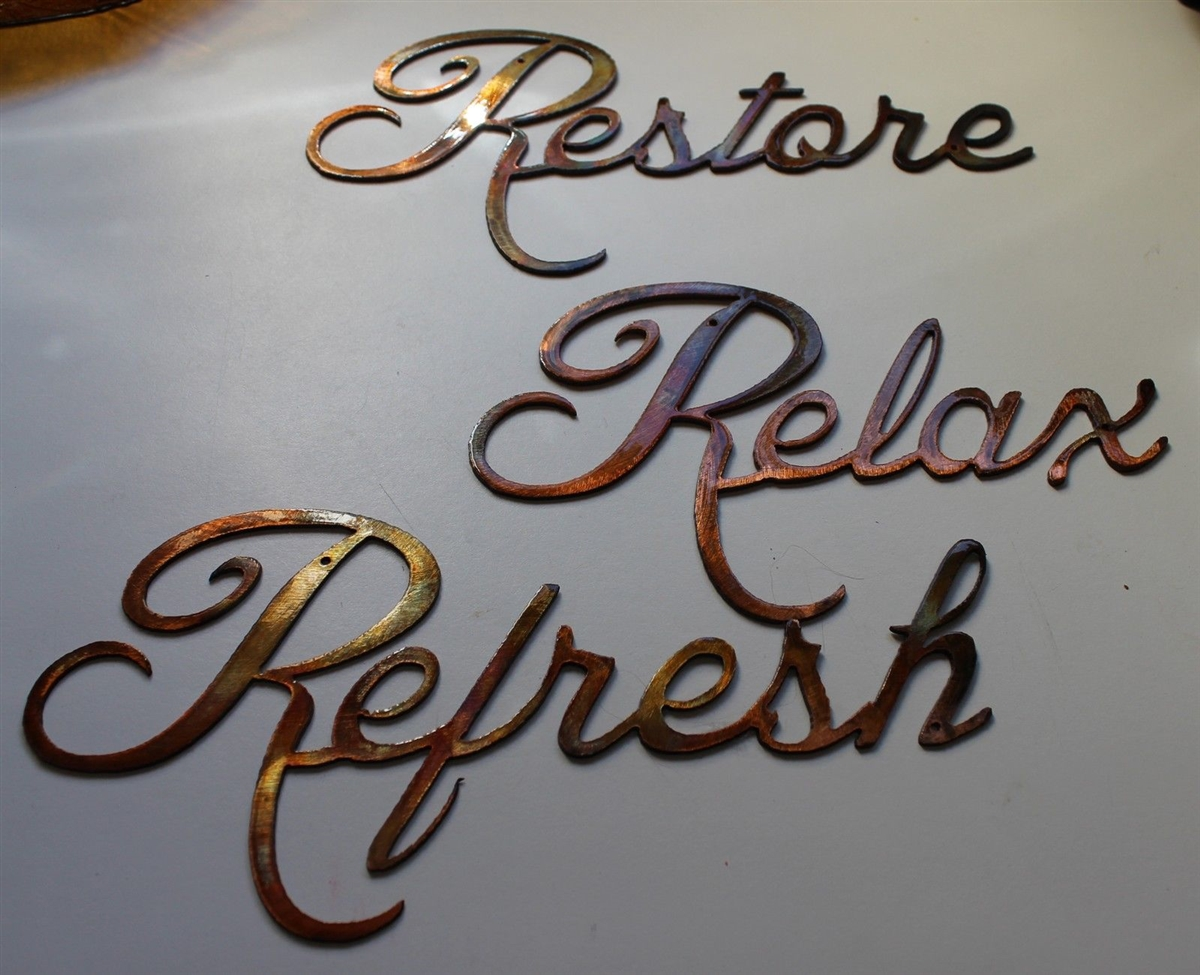 """Metal Word Art Relax Refresh Restore"""" Metal Word"""