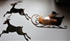Santa Sleigh and Two Reindeer Metal Wall Art Decor