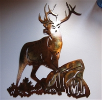 Elk on a Rock Metal Wall Art