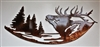 Small Elk and Trees Metal Wall Art