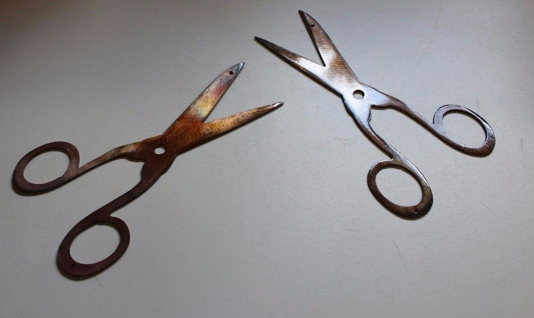 Small Metal Wall Art small scissors (2) metal wall art decor copper/bronze plated