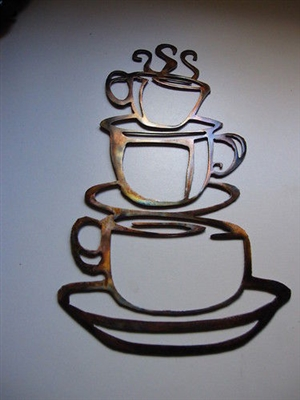 Stacked Coffee Cups (Large) Metal Wall Art Decor