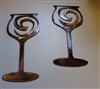 Swirled Wine Glass Pair Metal Wall Art