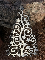 Swirl and Star Metal Wall Art Christmas Tree