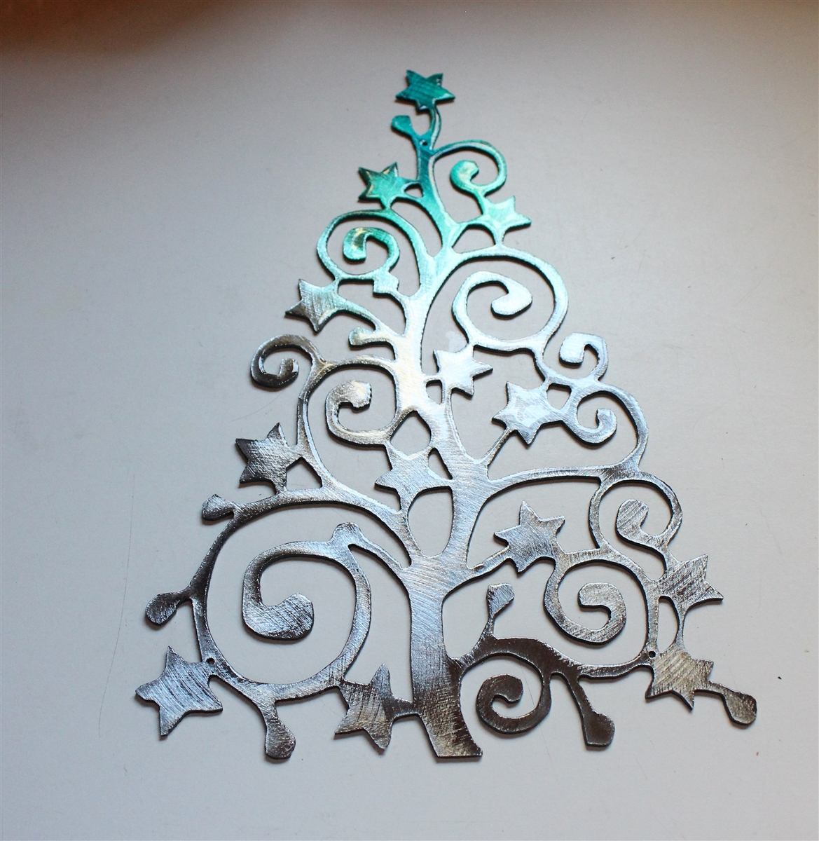 Swirly Ornamental Christmas Tree Metal Wall Art Decor Teal Tainted Silver