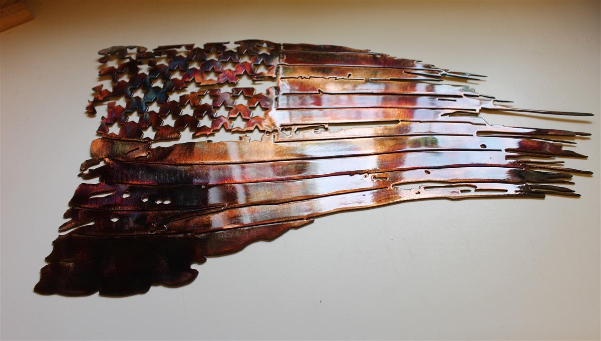 Tattered U0026 Torn American Flag Metal Wall Art