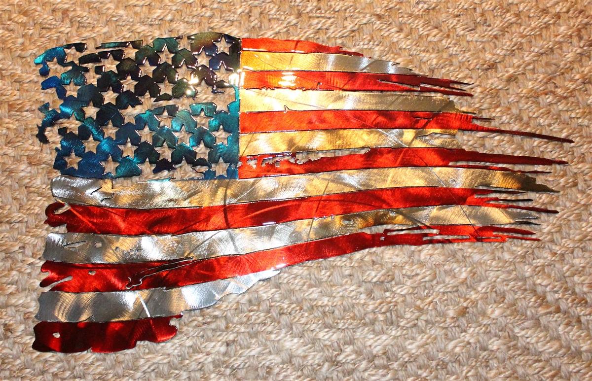 Patriotic Tattered u0026 Torn u0026 Distressed American Flag Wall Art 31  x 17 1/2  & Email