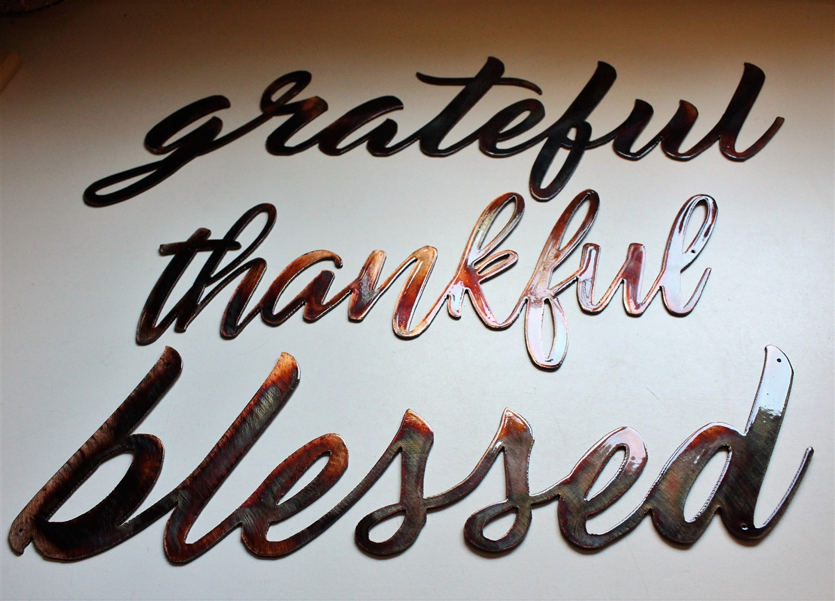 Thankful Grateful Blessed Metal Wall Art Words Copper Bronze Plated