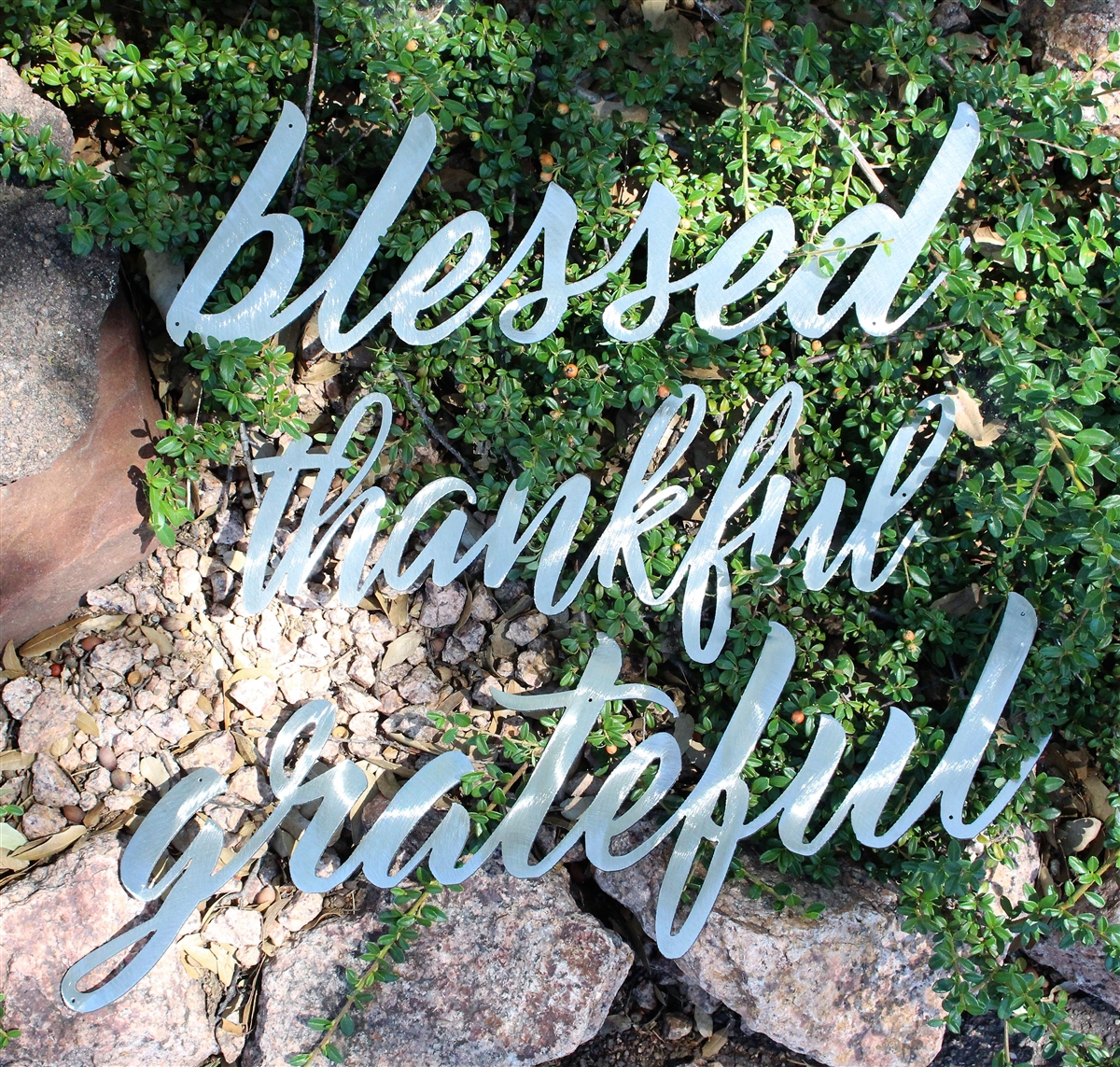 Thankful Grateful Blessed Metal Wall Art Words Polished Steel