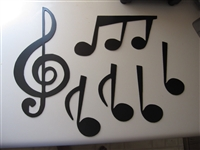 Treble Clef & 5 notes Music Set Metal Wall Art - Black