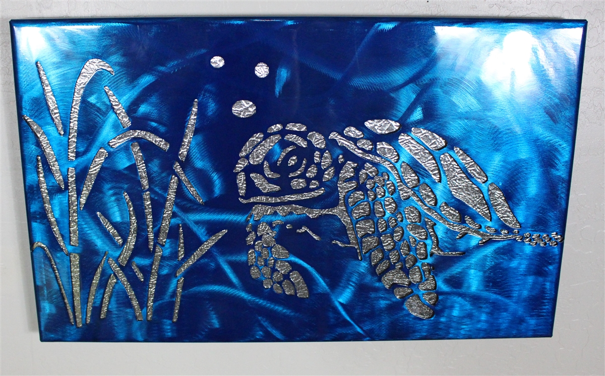 Blue Metal Wall Art Simple Metal Art Canvas Love  Metallic Blue Decorating Design
