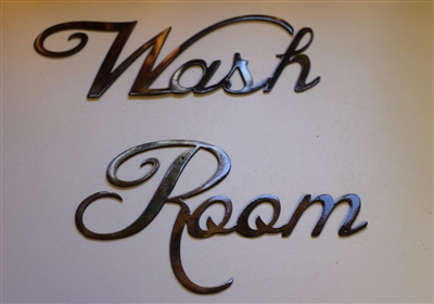 """Wash Room"" Metal Wall Art Decor Copper/Bronze Plated"
